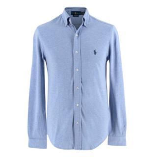 Polo Ralph Lauren Light Blue Marl Cotton Long-Sleeved Shirt
