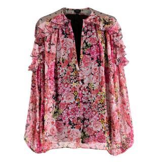 Giambattista Valli Pink Silk-Chiffon Floral Blouse