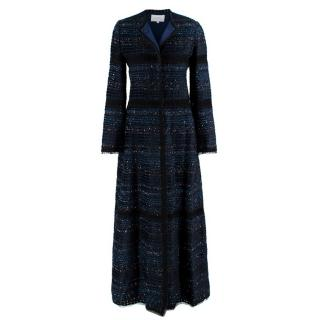 Luisa Beccaria Navy Tweed Lace Applique Longline Coat