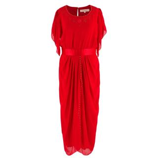 Zandra Rhodes Red Silk Hand Painted Long Dress