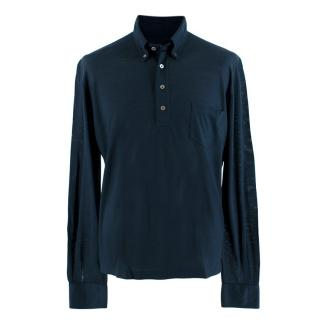 Fedeli Navy Wool Long-Sleeve Polo Shirt
