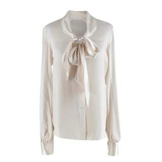 Ermanno Scervino Ivory Silk blend Pussybow Blouse