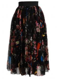 Dolce & Gabbana Black Chiffon Floral Print Silk Skirt