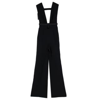 La Mania Black Crepe-Satin Plunge Neck Jumpsuit