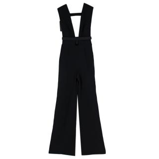 La Mania Black Crepe-Satin Plunge Neck Jumpsuit
