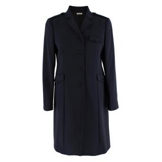 Miu Miu Navy Wool Military Single Breasted Coat