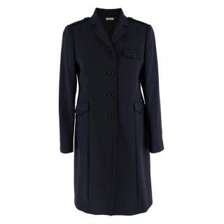 Miu Miu Navy Wool Military Single Breasted Coat