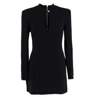 Balmain Black Wool Jersey Long Sleeve Mini Dress