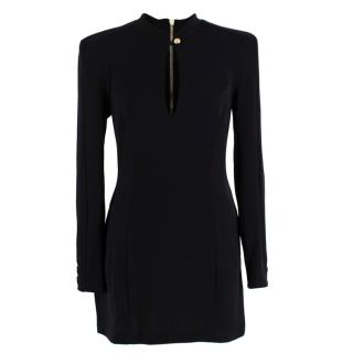 Balmain Black Wool Jersey Long Sleeve Mini Dress