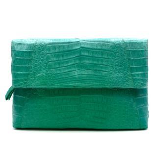 Nancy Gonzalez Green Crocodile Leather Flap Bag