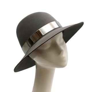 Maison Michel Grey Felt Fedora Hat with Metal Band