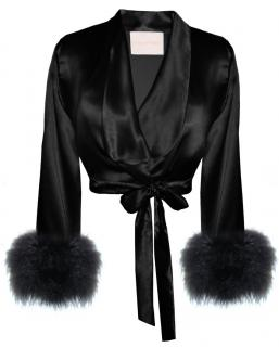 Maguy De Chadirac Black Silk Wrap Bed Jacket