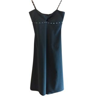 Versace Black Studded Sleeveless Dress