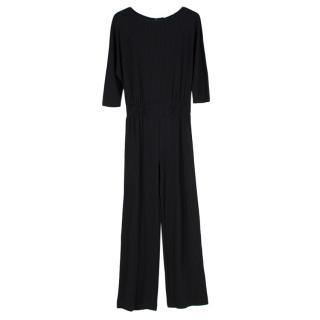 Max Mara Black Pinstripe Knit Long Sleeve Jumpsuit