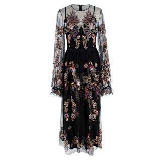 Alena Akhmadullina Black Embroidered Mesh Maxi Dress