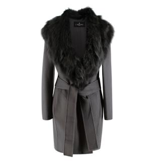 J. Mendel Fur-Trimmed Wool/Cashmere Coat