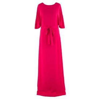 Alexander Terekhov Cerise Pink Silk Belted Maxi Dress