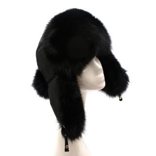 Bespoke Black Nylon & Vison Fur Padded Hat