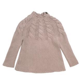 Bonpoint Beige Cashmere Knit Cable Knit Raised Neck Sweater