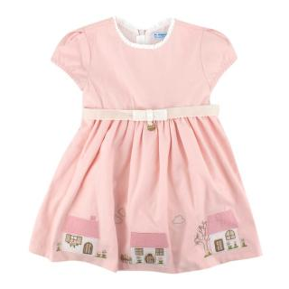 Mayoral Baby Pink House Embroidered Dress