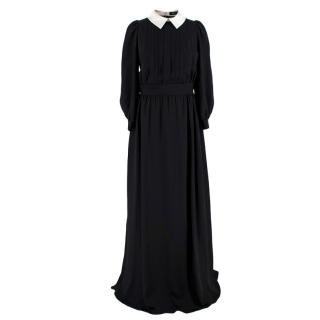 Alena Akhmadullina Black Collared Pleated Maxi Dress