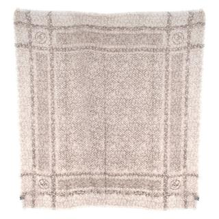 Chanel Beige CC Tweed Print Cashmere Scarf