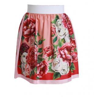 Dolce & Gabbana Pink Floral Print Skirt