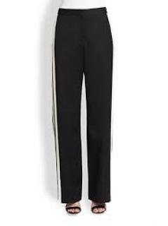 By Malene Birger Black Straight Leg Wool Pants with Side Stripe