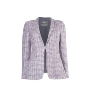 Chanel Shawl Lapel Lilac Tweed Jacket