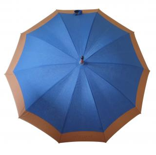 Longchamp Camel & Blue Classique Walking Umbrella
