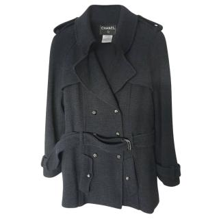 Chanel Black Aviation Collection Short Trench Coat