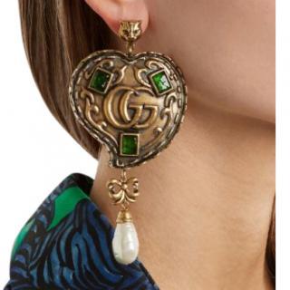 Gucci Embellished Faux Pearl Drop GG Heart Earrings