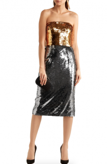 Dolce & Gabbana Two-tone sequined tulle midi dress