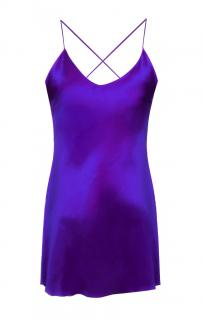 Maguy De Chadirac Purple Silk Mini Slip Dress