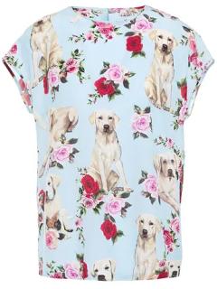 Dolce & Gabbana Labrador Floral Print Blue Top