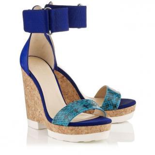 Jimmy Choo Blue Leather/Elaphe Snakeskin Wedge Sandals