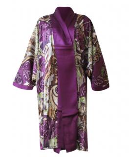 Marjolaine Purple Printed Silk Kimono Wrap
