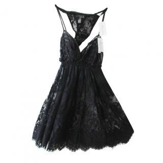 Marjolaine Ivresse Black Lace Babydoll Dress & Thong
