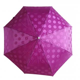 Longchamp Magenta Printed Retractable Umbrella