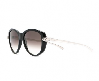 Cartier Black Oversize Panthere Sunglasses