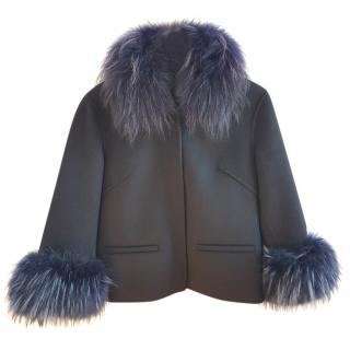 Clips Blue Wool Fur Trimmed Jacket