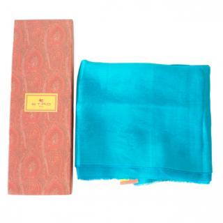 Etro Turquoise Paisley print Shawl