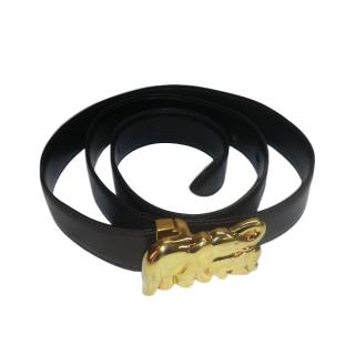 Carter down leather belt with mother and baby elephant buckle