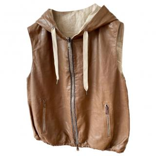 Brunello Cucinelli brown nappa leather hooded gilet S