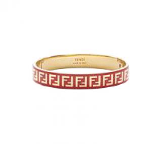 Fendi Red Enamel FF Gold Tone Bracelet