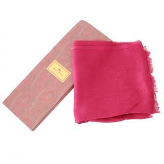 Etro Pink Linen Blend Paisley Shawl