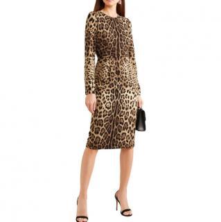 Dolce & Gabbana Leopard-print silk-blend midi dress