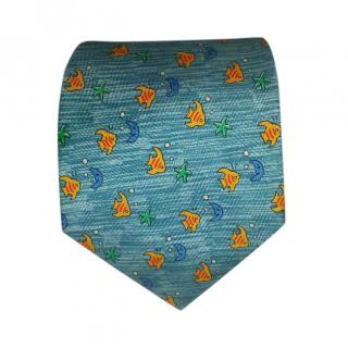 Hermes Blue Fish Print Silk TIe