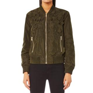 Michael Michael Kors Lightweight Green Embroidered Bomber Jacket