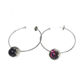 Baccarat Murmure Collection Glass Bead Pendant Hoop Earrings